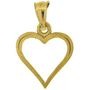 Jewelry For Less 10k Yellow Gold Heart Pendant 0.70 Cut Out Charm