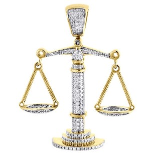 Jewelry For Less 10k Yellow Gold Lucky Libra Scale Diamond Pendant Mens Round Pave Charm 0.55 Tcw