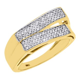 Other 10k Yellow Gold Mens Round Diamond Criss Cross Statement Pave Pinky Ring 0.40 Ct