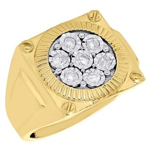Other 10k Yellow Gold Mens Round Diamond Fluted Bezel Set Designer Pinky Ring 0.50 Ct.