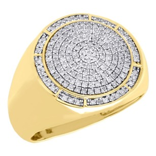 Other 10k Yellow Gold Mens Round Diamond Statement Pinky Ring 18mm Domed Top 0.53 Ct.
