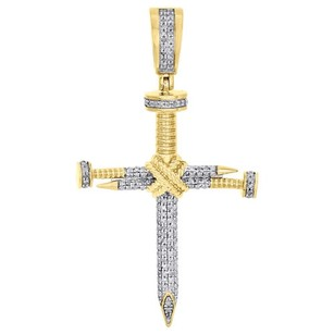 Jewelry For Less 10k Yellow Gold Nail Cross X Accent Genuine Diamond Pendant 1.85 Charm 0.38 Ct.