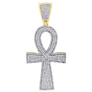 Jewelry For Less 10k Yellow Gold Real Diamond Ankh Cross Pendant 2.40 Mens Pave Charm 1.50 Ct.