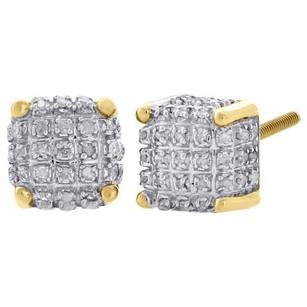 Jewelry For Less 10k Yellow Gold Real Diamond Stud 7mm 3d Cube Square Mens Pave Earrings 0.33 Ct.