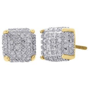 Jewelry For Less 10k Yellow Gold Real Diamond Stud 9mm 3d Cube Square Mens Pave Earrings 0.50 Ct.