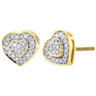 10k Yellow Gold Round Cut Diamond Ladies 8.25mm Heart Stud Pave Earrings 0.30 Ct