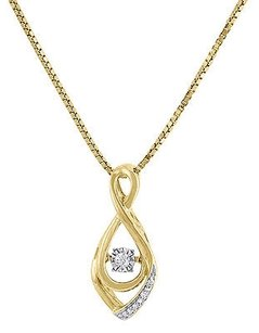 Jewelry For Less 10k Yellow Gold Round Dancing Diamond Pendant With Chain Necklace 0.04 Ct.