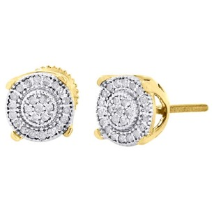 10k Yellow Gold Round Diamond Milgrain Circle Pave Studs 7mm Earrings 0.30 Ct.