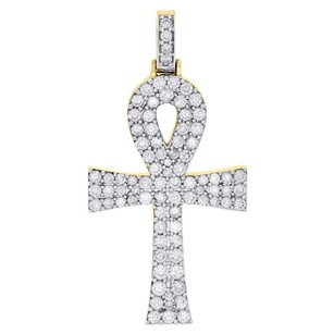 Jewelry For Less 10k Yellow Gold Round Diamond Mini Ankh Cross Pendant 1.50 Mens Charm 1.50 Ct.