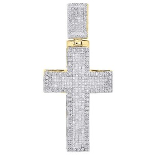 Other 10k Yellow Gold Round Princess Diamond Cross Pendant 2 Domed Charm 1.75 Ct.