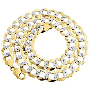 10k Yellow Gold Solid 14.25 Mm Diamond Cut Curb Cuban Chain Necklace 24 - 30