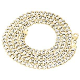 110th 10k Yellow Gold Diamond Cut Curb Cuban Link Chain Necklace 7mm 18-30 Inch