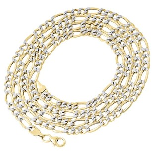 110th 10k Yellow Gold Diamond Cut Figaro Link Chain Necklace Mm 18-30 Inches