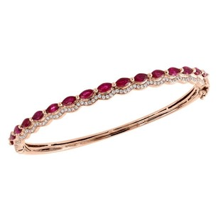 Jewelry For Less 14k Rose Gold Natural Ruby Diamond Ladies Waved Bangle Bracelet 7 3.28 Tcw