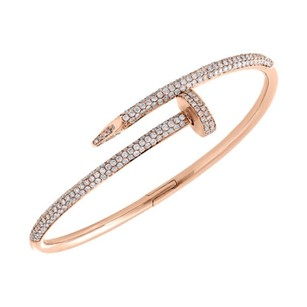 Other 14k Solid Rose Gold Round Diamond Nail Bangle 20cm Unisex Bracelet 2.80 Ct.