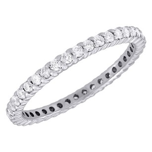 Jewelry For Less 14k White Gold Diamond Eternity Wedding Engagement Band Ring Prong Set 0.50 Ct.