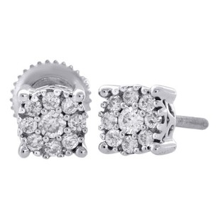 Jewelry For Less 14k White Gold Diamond Solitaire Accent Flower Halo Stud 5.25mm Earrings 13 Ct.