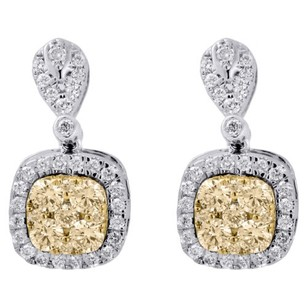 14k White Gold Natural Yellow Diamond Square Drop Dangle Earrings 1.20 Ct.