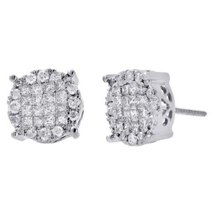 14k White Gold Princess Diamond Soleil Collection Circle Stud Earrings 1 Ct.