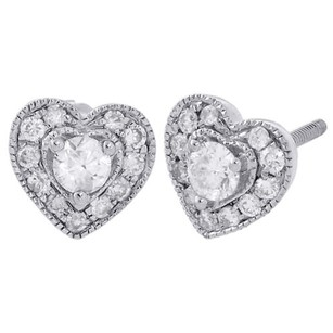 Other 14k White Gold Round Cut Diamond Heart Frame Stud 7.25mm Halo Earrings 13 Ct.