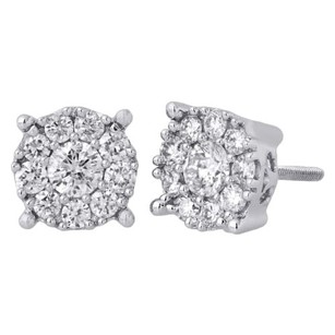 Other 14k White Gold Solitaire Accent 8.25mm Round Diamond Flower Stud Earrings 1 Ct.