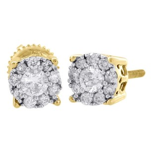 Jewelry For Less 14k Yellow Gold Diamond Solitaire Accent Flower Halo Stud 6.25mm Earrings 34 Ct