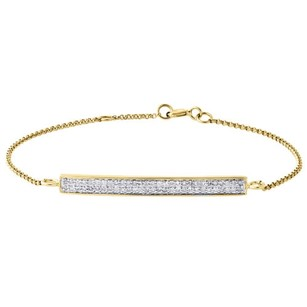 Jewelry For Less 14k Yellow Gold Round Diamond Bar Bracelet Row Ladies 7 Rolo Link 0.31 Ct.
