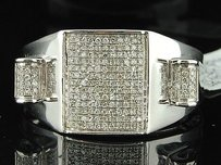 Mens 10k White Gold Diamond Pinky Ring 13 Ct. Domed Engagement Wedding Band