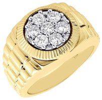 Diamond,Fashion,Pinky,Ring,Mens,10k,Yellow,Gold,Round,Cut,Fluted,Bezel,1,Tcw.