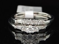 Ladies 14k White Gold Diamond 3 Stone Engagement Ring Bridal Set 0.37 Ct.