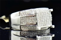Diamond Square Engagement Ring 10k White Gold Round Cut Pave 0.60 Ct