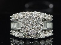Ladies 14k White Gold Diamond Engagement Ring Flower Wedding Bridal 3.00 Ct.