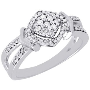 Diamond Engagement Ring Ladies 10k White Gold Round Pave Halo Wedding 14 Tcw.