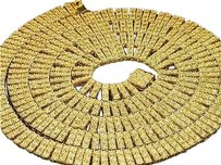 Mens,Yellow,Gold,Finish,3,Row,White,Diamond,Necklace,Chain,Fanook,Setting,5,Ct.
