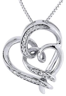 .925 Sterling Silver Diamond Double Heart Pendant Chain Love Necklace 0.10 Ct.
