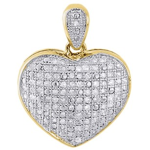 925 Sterling Silver Ladies Diamond Heart Domed Puff Pendant 18 Chain Set .33 Ct