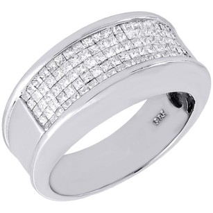 Diamond Wedding Band Mens 14k White Gold Princess Cut Anniversary Ring 1 Tcw.