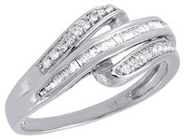 Diamond,Wedding,Band,10k,White,Gold,Round,Baguette,Cut,Ladies,Ring,0.20,Ct