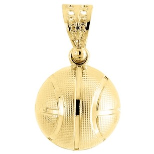 Basketball Sports Charm Mens 120th 10k Yellow Gold Pendant 20 Rope Chain