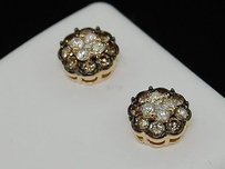 Jewelry For Less Brown Diamond Flower Studs Ladies 14k Yellow Gold Round Cut Design Earrings 1 Ct