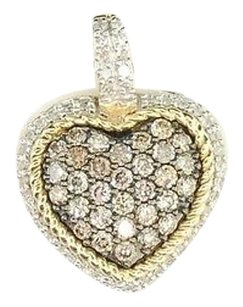 Other Brown Diamond Heart Charm Ladies 10k Yellow Gold Round Love Pendant 0.72 Tcw.