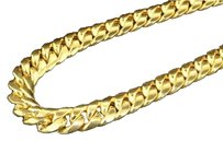 10k,Yellow,Gold,Miami,Cuban,Semi,Hollow,11mm,Wide,Chain,36,Necklace