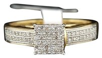 Yellow,Gold,Finish,Round,Cut,Pave,Diamond,Square,Design,Promise,Ring,14,Ct.