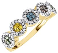 Diamond,Multicolor,Fashion,Right,Hand,Band,10k,Yellow,Gold,Cocktail,Ring,0.40,Ct
