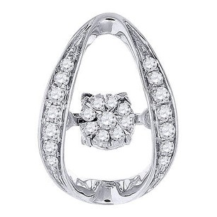 Jewelry For Less Dancing Diamond Pendant Solitaire Halo Ladies White Gold Round Charm 0.14 Ct.