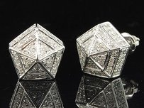 Diamond 3d Pentagon Earrings 10k White Gold Round Pave Studs 0.60 Tcw.