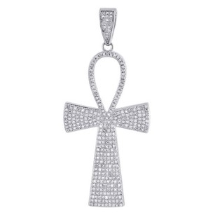 Other Diamond Ankh Cross Pendant 925 Sterling Silver 34 Ct Egyptian Pave Charm