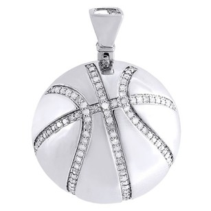 Other Diamond Basketball Pendant Mens .925 Sterling Silver Pave Sports Charm 0.55 Ct
