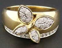 Jewelry For Less Diamond Butterfly Fashion Cocktail Ring 10k Yellow Gold Round Cut Band 0.35 Ct.