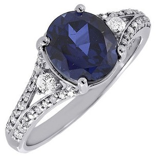 Other Diamond Created Blue Sapphire 10k White Gold Fashion Cocktail Ring Tcw.